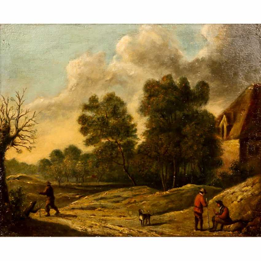 """PAINTER of the 18th and 19th centuries Century, """"Hikers and rest in the hilly landscape"""", - photo 1"""