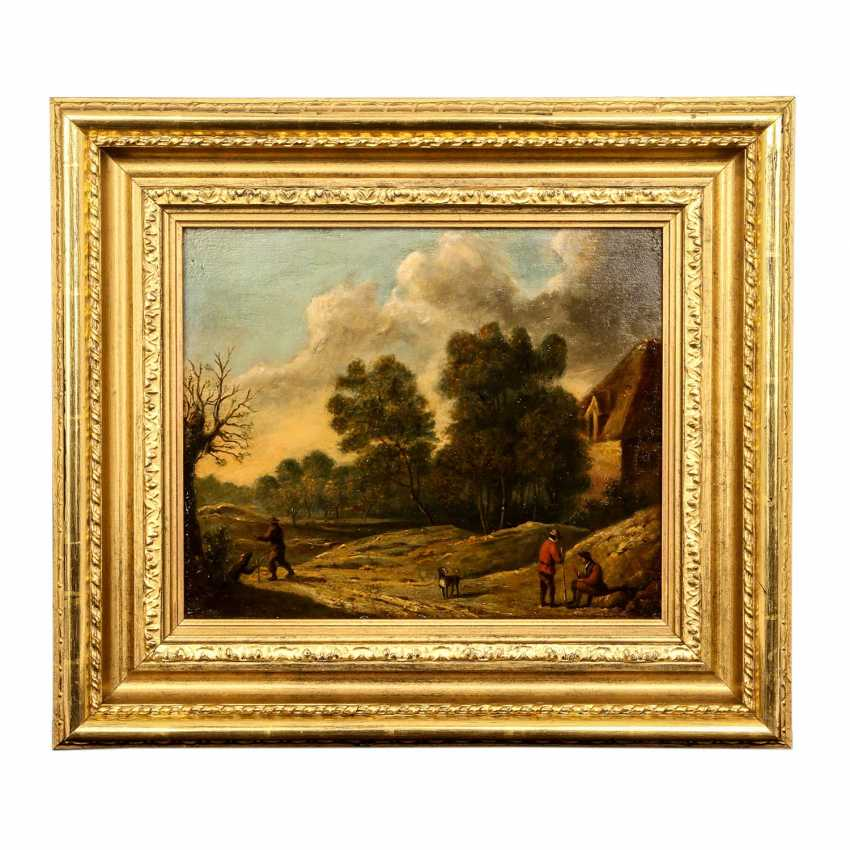 """PAINTER of the 18th and 19th centuries Century, """"Hikers and rest in the hilly landscape"""", - photo 2"""