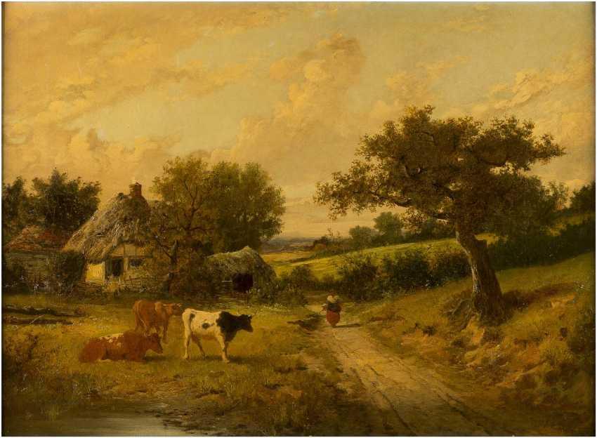 FREDERICK WILLIAM HAYES 1848 Liverpool - 1918 London Englische Landschaft mit Cottage und Herde - photo 1