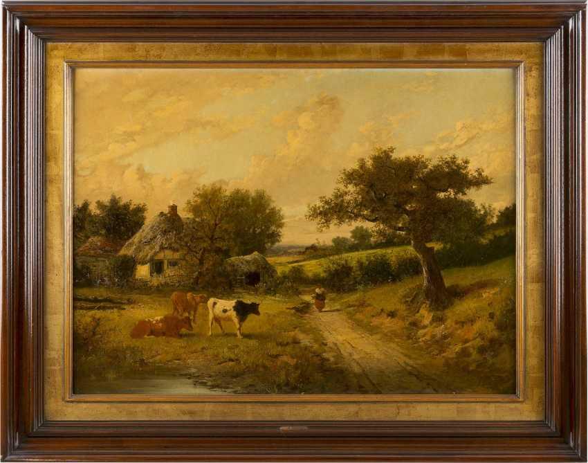 FREDERICK WILLIAM HAYES 1848 Liverpool - 1918 London Englische Landschaft mit Cottage und Herde - photo 2