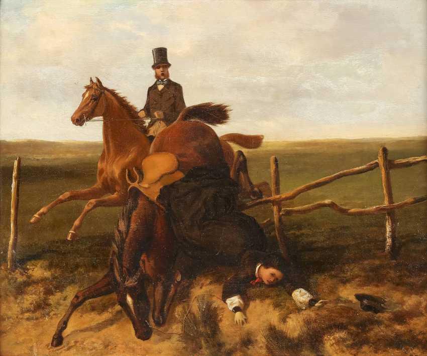 ENGLISCHER GENREMALER Tätig 2. Hälfte 19. Jahrhundert Der Sturz vom Pferd - photo 1