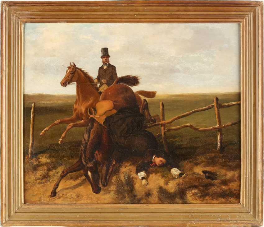 ENGLISCHER GENREMALER Tätig 2. Hälfte 19. Jahrhundert Der Sturz vom Pferd - photo 2