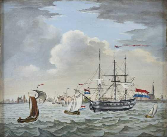 NIEDERLÄNDISCHER MARINEMALER Tätig um 1900 Dreimaster der niederländischen Flotte - photo 1