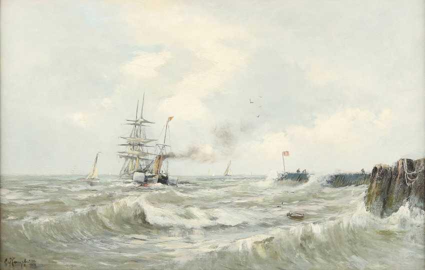 EUGEN KAMPF (ATTR.) 1861 Aachen - 1933 Düsseldorf Fischerboote auf der Nordsee - photo 1