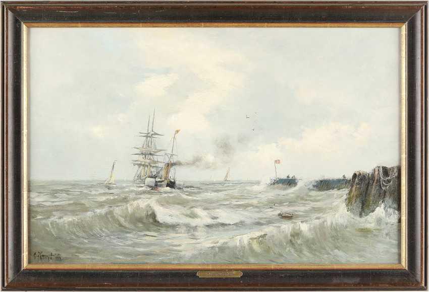 EUGEN KAMPF (ATTR.) 1861 Aachen - 1933 Düsseldorf Fischerboote auf der Nordsee - photo 2