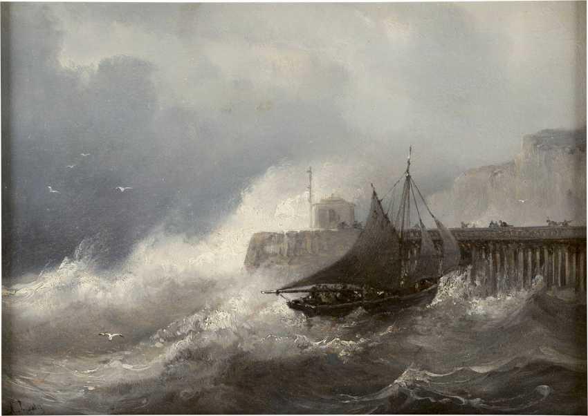 JEAN-MARIE-AUGUSTE JUGELET 1805 Brest - 1874 Versailles Stürmische Brandung am Kai (Grisaille) - photo 1