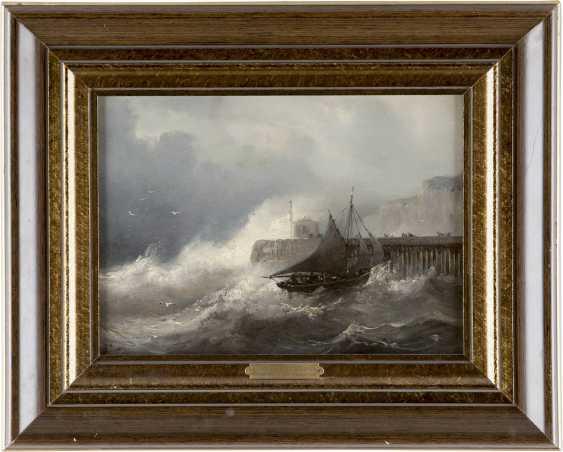 JEAN-MARIE-AUGUSTE JUGELET 1805 Brest - 1874 Versailles Stürmische Brandung am Kai (Grisaille) - photo 2