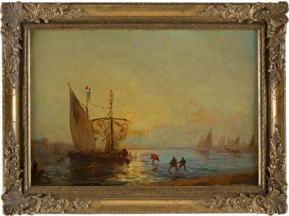 FÉLIX FRANCOIS GEORGES PHILIBERT ZIEM 1821 Beaune - 1911 Paris Fischer beim Einholen ihrer Netzte in der Lagune - photo 1