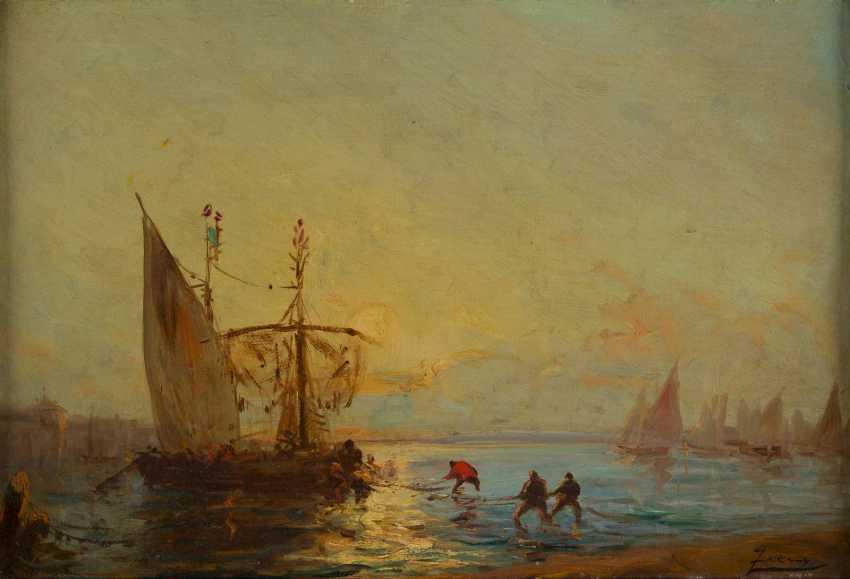 FÉLIX FRANCOIS GEORGES PHILIBERT ZIEM 1821 Beaune - 1911 Paris Fischer beim Einholen ihrer Netzte in der Lagune - photo 2