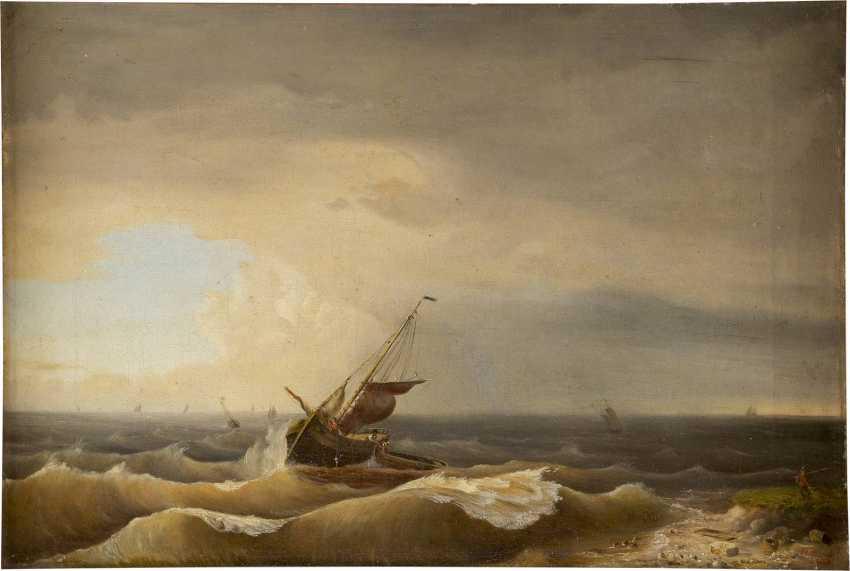 C. L. SCHMITZ Tätig um 1850 Stürmische See - photo 1