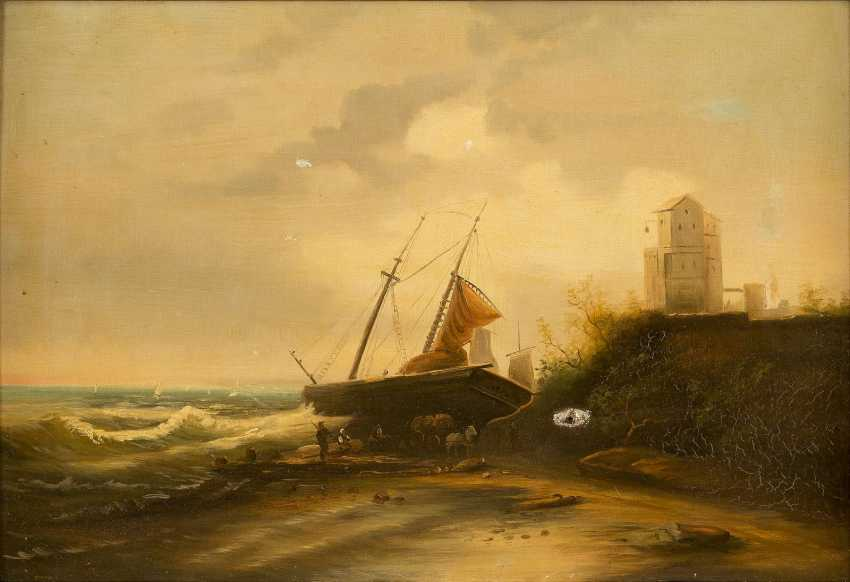 DEUTSCHER LANDSCHAFTSMALER Tätig 1. Hälfte 20. Jahrhundert Segelschiff mit Figurenstaffage am Strand - photo 1