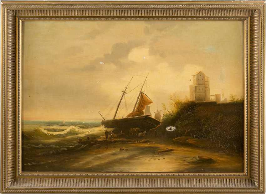 DEUTSCHER LANDSCHAFTSMALER Tätig 1. Hälfte 20. Jahrhundert Segelschiff mit Figurenstaffage am Strand - photo 2