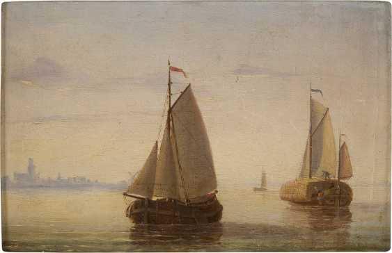 JACOBUS VAN GORKUM JUN 1827 - 1880 Segelboote vor der Kulisse einer holländischen Stadt - photo 1