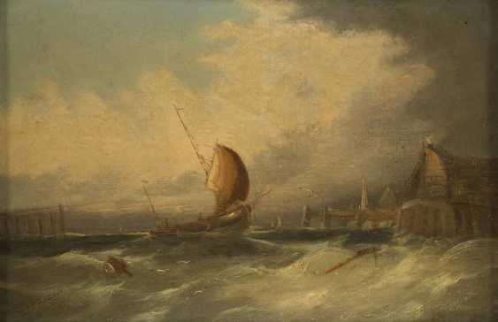 WILLIAM HENRY WILLIAMSON (ATTR.) 1820 Großbritannien - 1883 Ein Segelschiff vor dem Anleger - photo 2