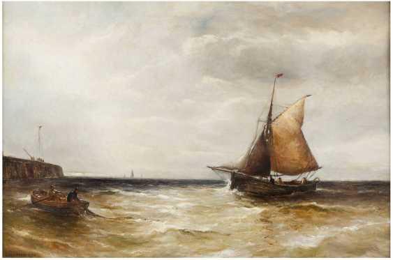EDWIN HAYES (ATTR.) 1819 Bristol - 1904 London Fischer an der Mole - photo 1
