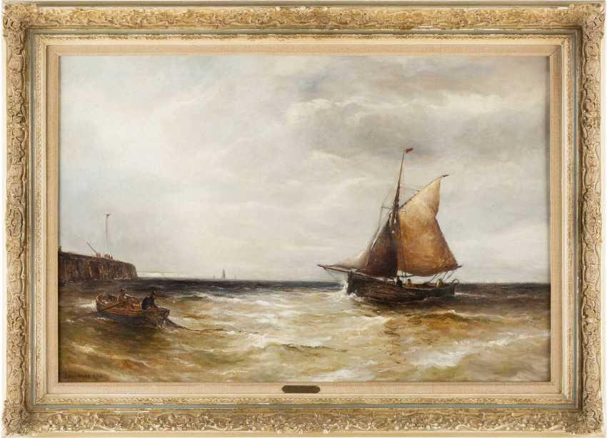 EDWIN HAYES (ATTR.) 1819 Bristol - 1904 London Fischer an der Mole - photo 2