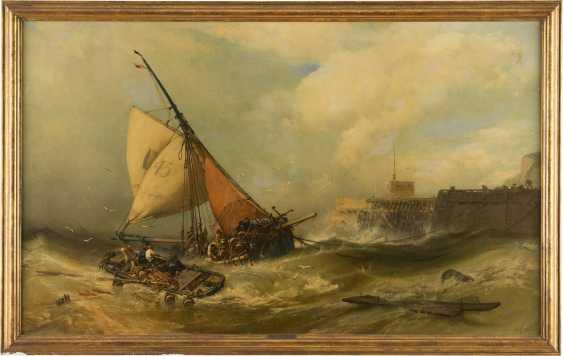 CHARLES HOGUET 1821 Berlin - 1870 ebenda Anlandende Boote bei stürmischer See vor einer Mole - photo 1