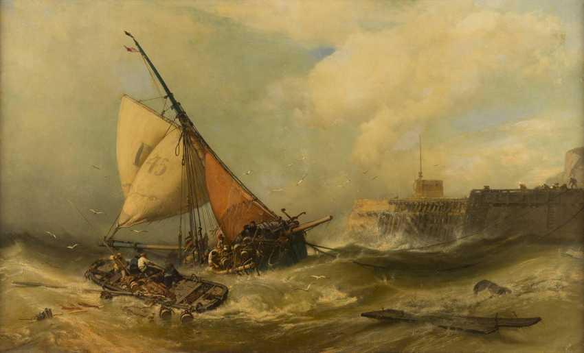 CHARLES HOGUET 1821 Berlin - 1870 ebenda Anlandende Boote bei stürmischer See vor einer Mole - photo 2