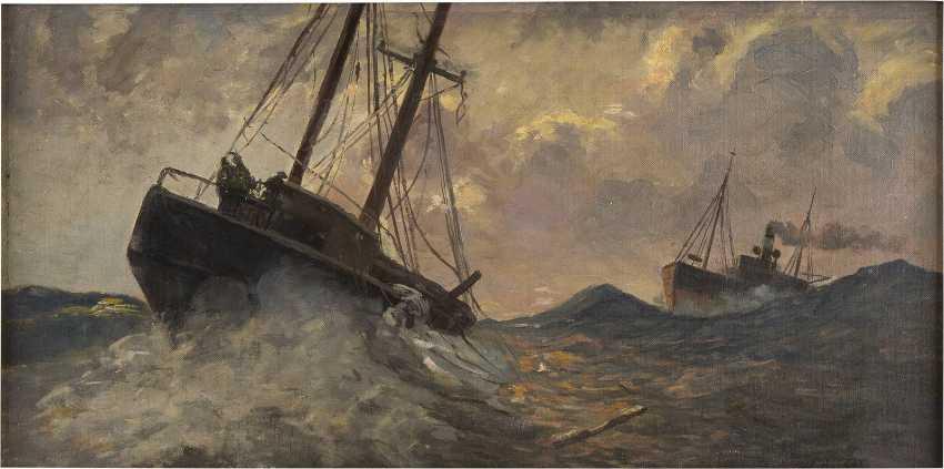 CARL BECKER 1862 Hameln - 1926 Hamburg/Blankenese Schiffe auf stürmischer See - photo 1