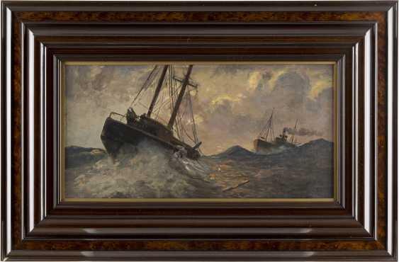 CARL BECKER 1862 Hameln - 1926 Hamburg/Blankenese Schiffe auf stürmischer See - photo 2