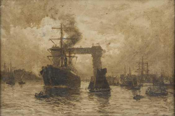 KARL THEODOR WAGNER 1856 Wien - 1921 Prechtoldsdorf AUF DER THEMSE - BLICK AUF DIE TOWER BRIDGE IM BAU - photo 1