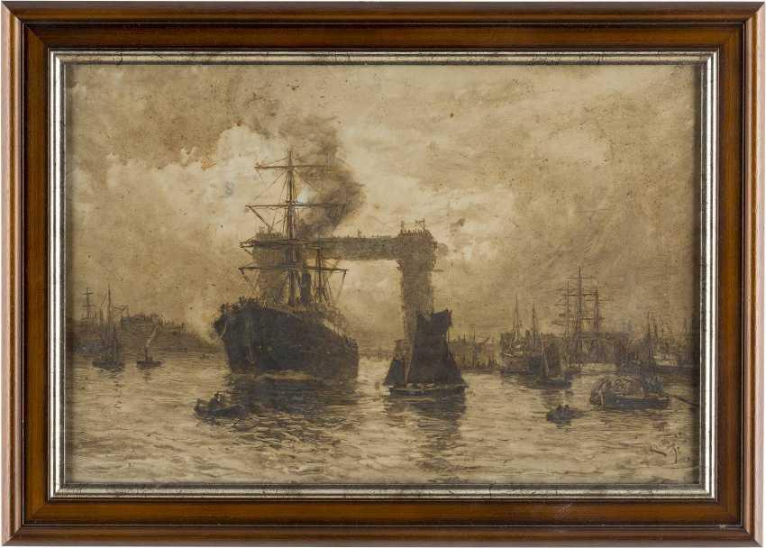 KARL THEODOR WAGNER 1856 Wien - 1921 Prechtoldsdorf AUF DER THEMSE - BLICK AUF DIE TOWER BRIDGE IM BAU - photo 2
