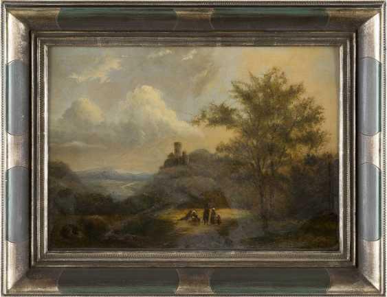 NIEDERLÄNDISCHER MEISTER Tätig um 1850 LANDSCHAFT MIT BURGANLAGE UND RASTENDEN - photo 2