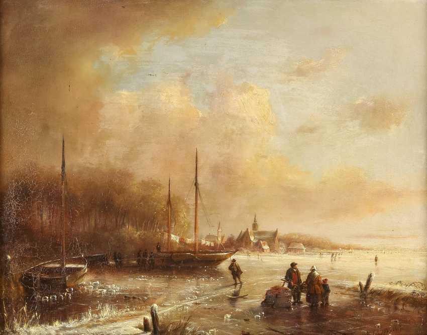 ANDREAS SCHELFHOUT (ATTR.) 1787 Den Haag - 1870 ebenda Eisvergnügen auf zugefrorenem See - photo 1