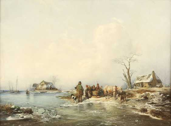 ANDREAS SCHELFHOUT (UMKREIS) 1787 Den Haag - 1870 ebenda Unterhaltung am Pferdeschlitten auf zugefrorenem See - photo 1
