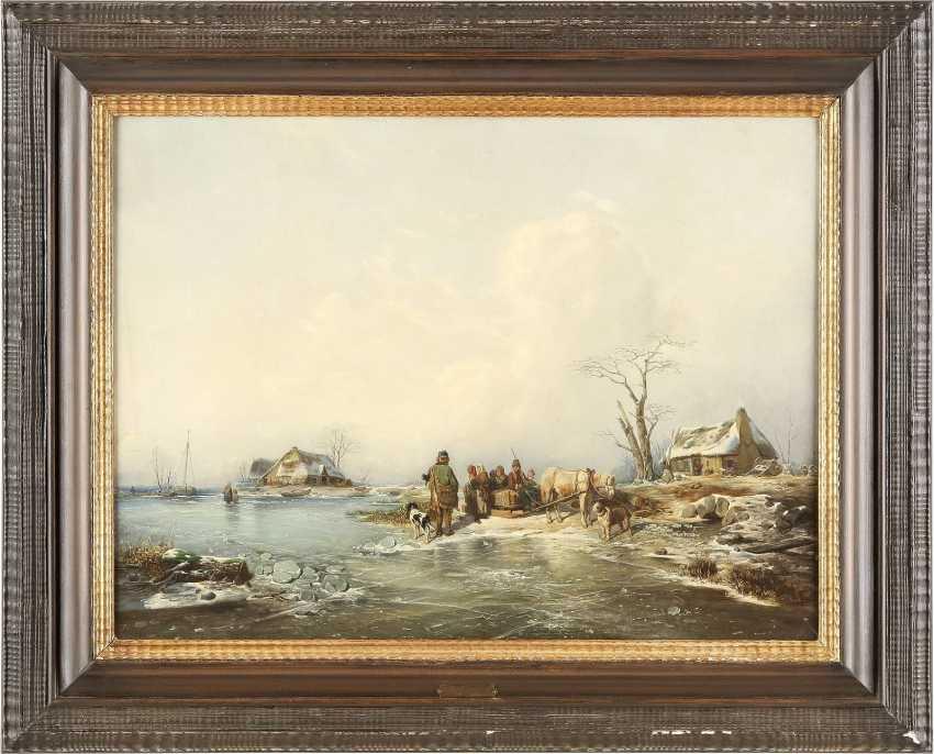 ANDREAS SCHELFHOUT (UMKREIS) 1787 Den Haag - 1870 ebenda Unterhaltung am Pferdeschlitten auf zugefrorenem See - photo 2