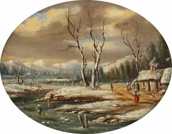 NIEDERLÄNDISCHER LANDSCHAFTSMALER Tätig 2. Hälfte 19. Jahrhundert Winterlicher See mit Figurenstaffage - photo 1