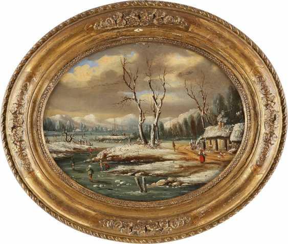 NIEDERLÄNDISCHER LANDSCHAFTSMALER Tätig 2. Hälfte 19. Jahrhundert Winterlicher See mit Figurenstaffage - photo 2