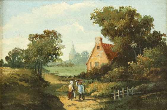 BARTHOLOMEUS JOHANNES VAN HOVE (NACHFOLGER) 1790 Den Haag - 1880 ebenda Zwei holländische Landschaften: Gehöft im Sommer (1); Idyllischer Bachlauf (2) - photo 2