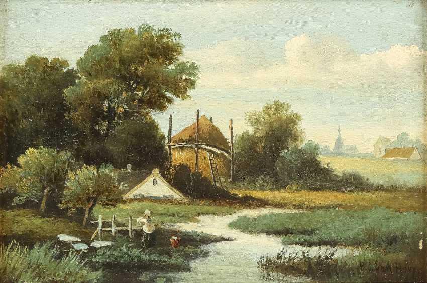 BARTHOLOMEUS JOHANNES VAN HOVE (NACHFOLGER) 1790 Den Haag - 1880 ebenda Zwei holländische Landschaften: Gehöft im Sommer (1); Idyllischer Bachlauf (2) - photo 4