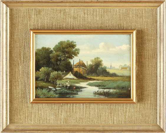 BARTHOLOMEUS JOHANNES VAN HOVE (NACHFOLGER) 1790 Den Haag - 1880 ebenda Zwei holländische Landschaften: Gehöft im Sommer (1); Idyllischer Bachlauf (2) - photo 1