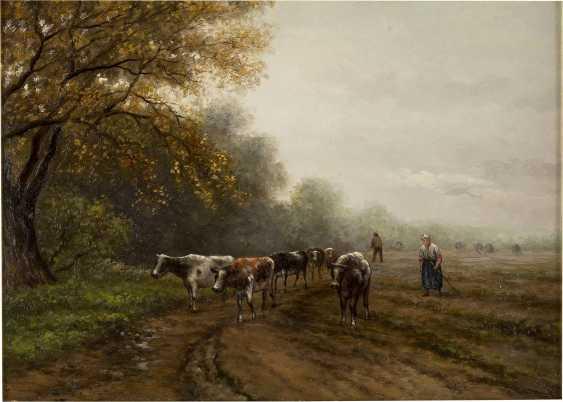 JULIUS-JACOBUS VAN DE SANDE BAKHUYZEN 1835 - 1925 Kühe mit Hirtin - photo 1