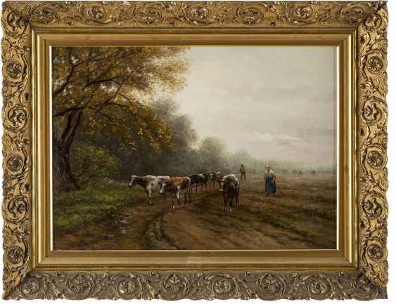 JULIUS-JACOBUS VAN DE SANDE BAKHUYZEN 1835 - 1925 Kühe mit Hirtin - photo 2