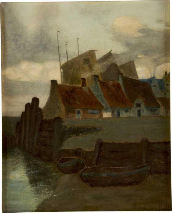 VAN DEN DAELE E. Tätig Mitte 20. Jahrhundert Häuser und Boote am Kanal - photo 1