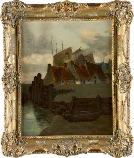 VAN DEN DAELE E. Tätig Mitte 20. Jahrhundert Häuser und Boote am Kanal - photo 2