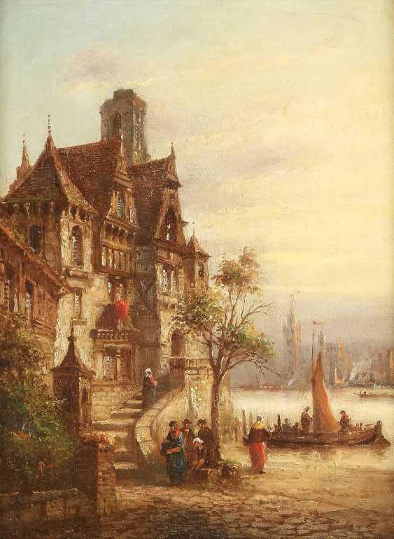 LOUIS LOTTIER 1815 - 1892 Französisches Städtchen am Flussufer - photo 1