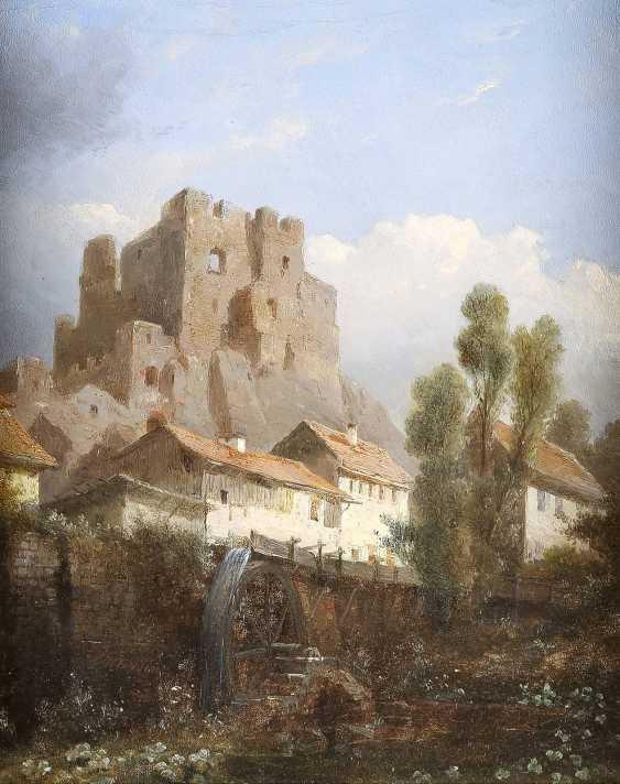 KASPARUS KARSEN (KARSSEN) 1810 Amsterdam - 1896 Biebrich Ansicht einer Festung vor kleiner Wassermühle - photo 1