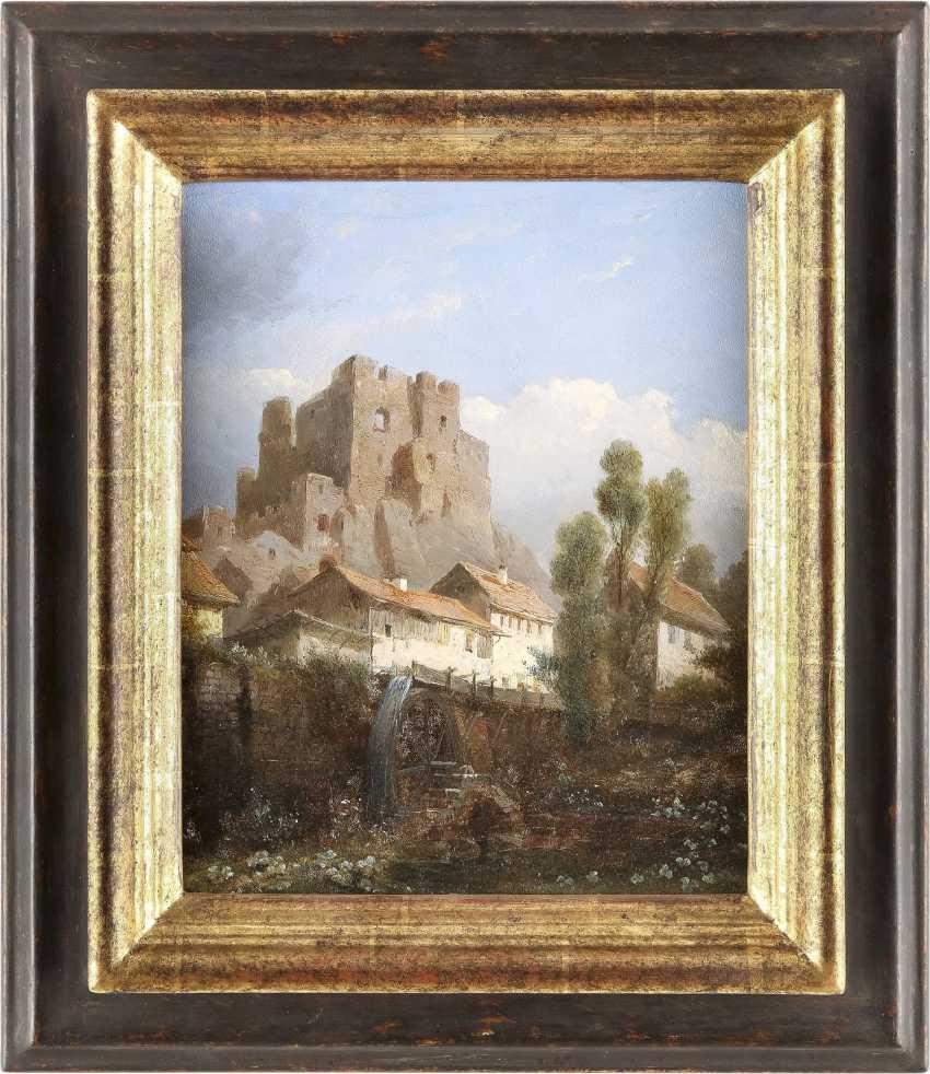 KASPARUS KARSEN (KARSSEN) 1810 Amsterdam - 1896 Biebrich Ansicht einer Festung vor kleiner Wassermühle - photo 2