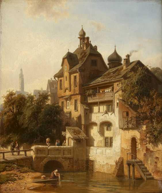 CHRISTIAN FRIEDRICH MALI 1832 Broekhuizen - 1906 München Ansicht einer idyllischen Kleinstadt am Fluss - photo 1