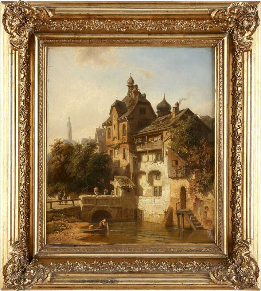 CHRISTIAN FRIEDRICH MALI 1832 Broekhuizen - 1906 München Ansicht einer idyllischen Kleinstadt am Fluss - photo 2
