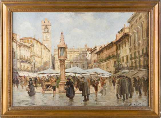 REMIGIO SCHMITZER 1880 - 1963 Piazza della Erbe (Verona) - photo 2
