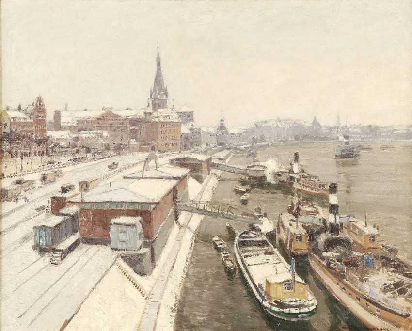 HEINRICH HERMANNS 1862 Düsseldorf - 1942 ebenda Der Rhein bei Düsseldorf im Winter - photo 1