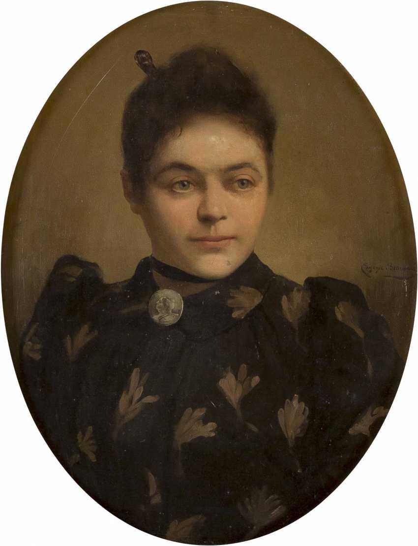 EUGÉNIE BEAUVOIS Tätig um 1900 (Belgien) Portrait einer Dame im Oval - photo 1