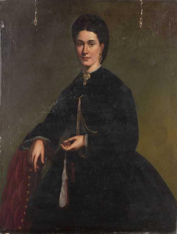 J. VAN LIL Tätig um 1870 Gemäldepaar: Halbporträt eines Herren mit Schnauzbart (1), Halbporträt einer Dame mit Fächer (2) - photo 1