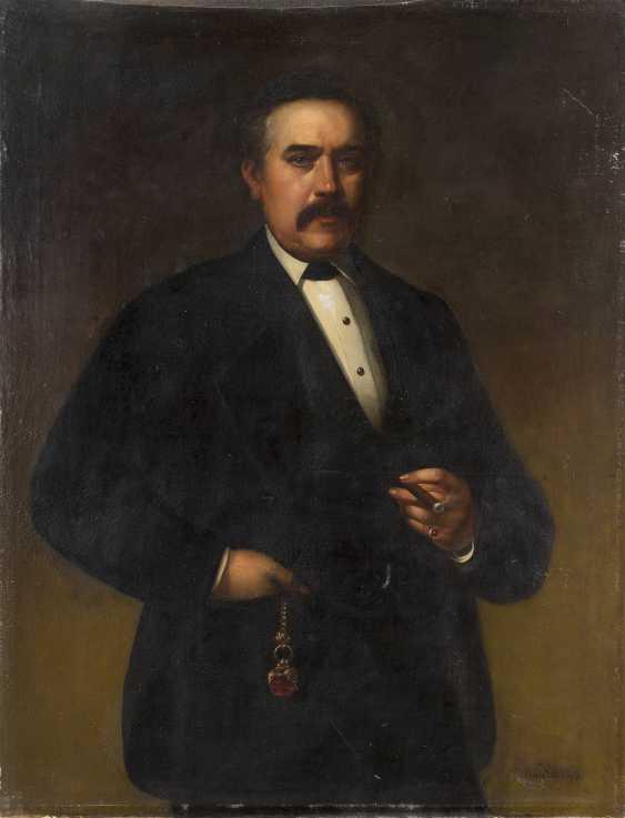 J. VAN LIL Tätig um 1870 Gemäldepaar: Halbporträt eines Herren mit Schnauzbart (1), Halbporträt einer Dame mit Fächer (2) - photo 2