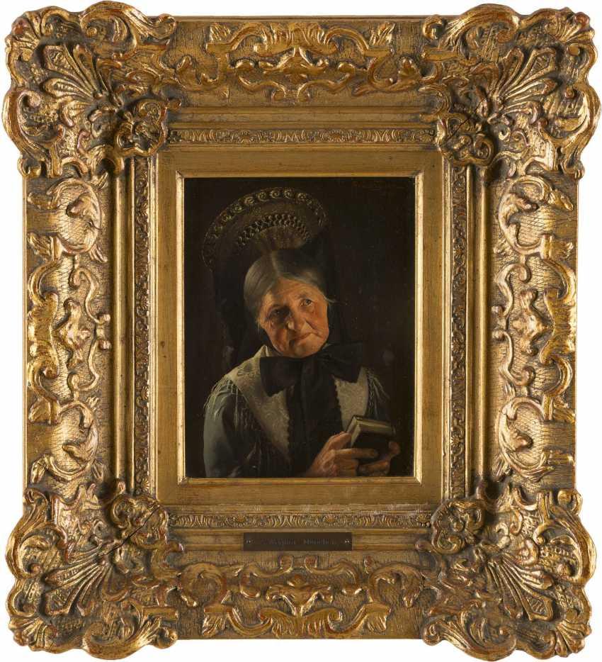 ALBERT WAGNER 1816 Stuttgart - 1867 ebenda Portrait einer Frau in festtäglicher schwäbischer Tracht - photo 1